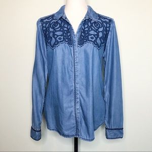 Holding Horses Floral Embroidered Chambray Shirt M